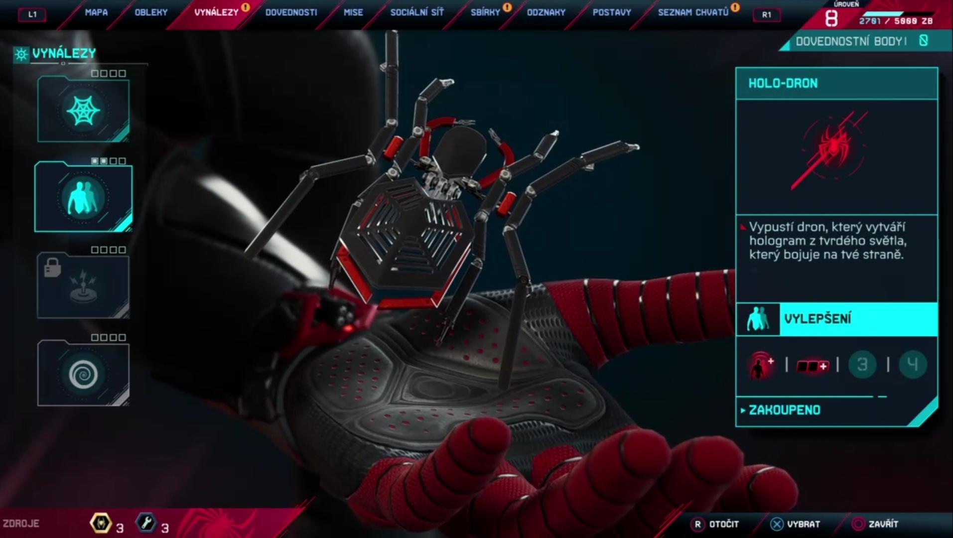 Hologram, diaľkovú míní či ťažiskovú bombu si počas hry obľúbite (Foto: Spider-Man Miles Morales)